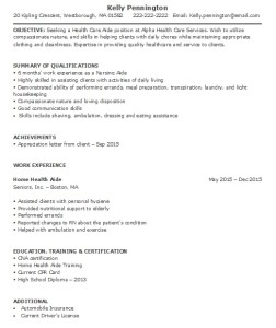 home health aide resume sample less experience - Home Health Aide Resume Sample