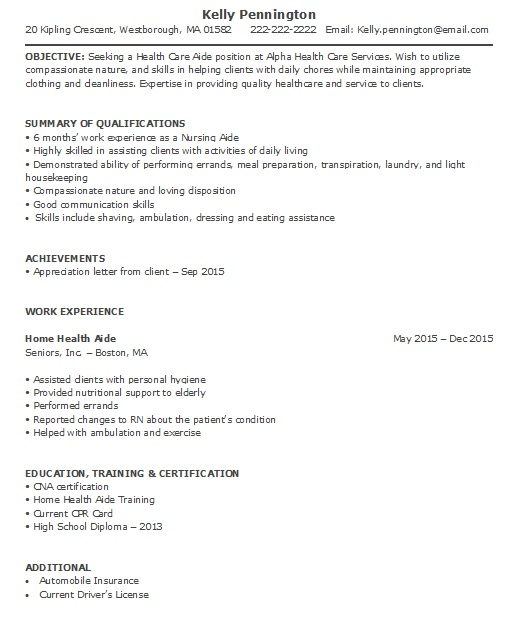 Home Health Aide Resume Sample (Less Experience)