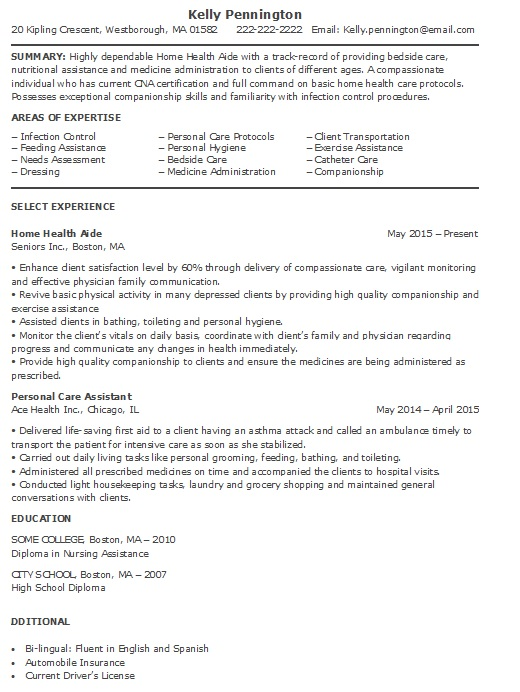 Home Health Aide Resume Sample (More Experience)